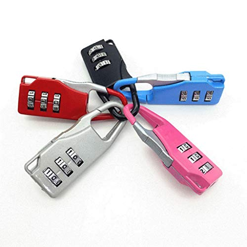 acction 4Pcs Password Lock Padlock Traveling Equipment TSA Approved 3 Digit Dial Combination Suitcase Luggage Metal Code Business Safty (Random Color)