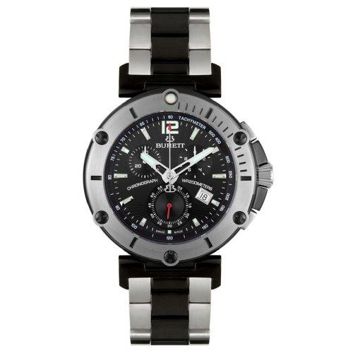 Burett Men's B4203LBSA Continent Collection Black and Stainless Steel Chronograph Diver Watch - Burett Burett Mens Watch
