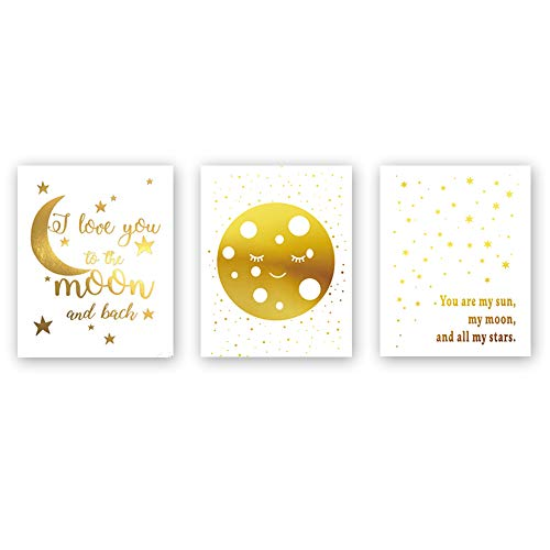 (Sanrx Funny Inspirational Quote Gold Foil Print, Moon Little Stars&Smiling Face Cardstock Art Print Poster Kids Room Nursery Wall Art (8 X 10 inch, Set of 3, UNframed))