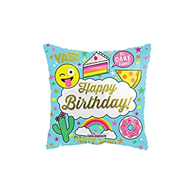 Happy Birthday Silly Emoji 18'' Mylar Balloon Rainbow Pizza Cake Cactus Donut: Health & Personal Care