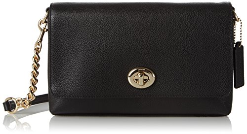 COACH Women's Polished Pebble Leather Crosstown Crossbody LI/Black Cross Body (Coach Nomad Crossbody In Burnished Glovetanned Leather)