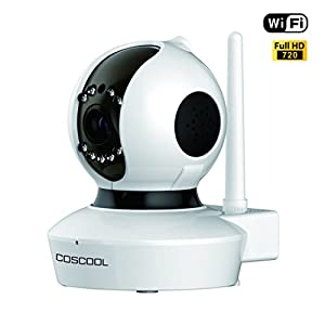 CosCool IP Camera 720P Wireless,Wifi Surveillance Camera Network Security Webcam,Microphone Inside,Two Way Audio,Onekey Wifi Fast Setting,Night Vision,ONIVF,Pan/Tilt Movement Baby Pet Video Monitor 24