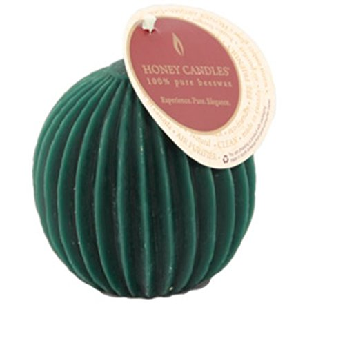 Fluted Pillar Candle - Honey Candles Ornamentals - Fluted Sphere - Forest Green