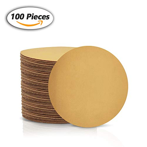 SPEEDWOX 100 Pcs 6 inch Sanding Discs 500 Grit Dustless Hook and Loop Sandpaper for Random Orbital Sander Yellow Finishing Discs for Automotive Woodworking from Speedwox