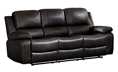 - Homelegance Oriole Double Reclining Sofa AirHyde Breathable Faux Leather with Drop Down Center Cup Holders, Brown