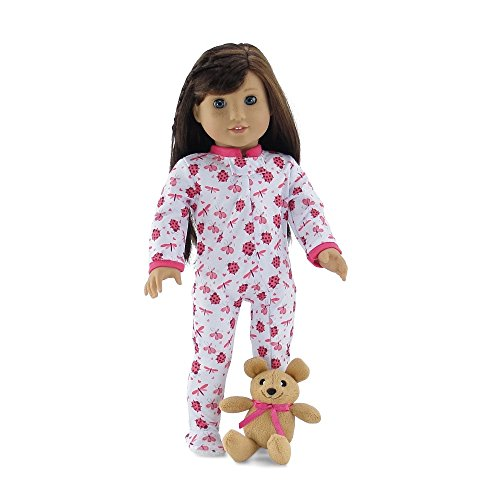 18 Inch Doll Clothes | Cozy and Cute Footed Ladybug Print Pajama PJ Outfit Onesie with Teddy Bear | Fits American Girl Dolls