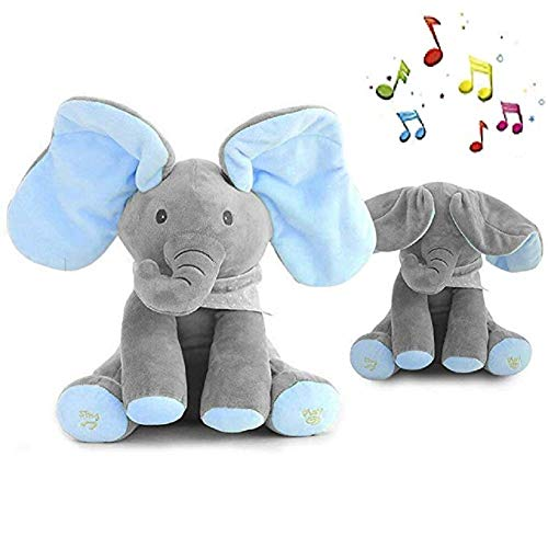 Peek-a-Boo Elephant Animated Talking Singing Stuffed Plush Doll,Elephant Baby Cute Stuffed Doll Toys for Tollder Kids Boys Girls Gift Present (Blue) ()