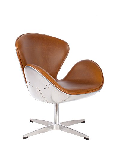 Hand Hammered Aviator Aluminum Mid Century Modern Classic Arne Jacobsen Style Swan Replica Chair With Premium Vintage Caramel Brown PU Leather and Stainless Steel Frame - Mid Century Modern High Chair
