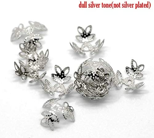 Fits 12mm-14mm Beads BIG-DEAL Findings/_Alloy Beads Caps Four Leaf Clover Silver Tone Flower Hollow Pattern 14mm x 14mm,50 PCs