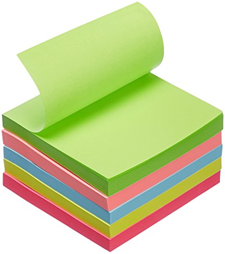 "AmazonBasics Sticky Notes - 3"" x 3"", Assorted Colors, 5-Pack"