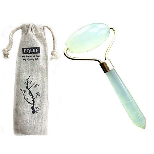 EQLEF® 100% Natural Beautiful Polished Green Jade Gemstone Facial Beauty Massage Roller Stick Face Neck Healing Slimming Massager Wand Anti