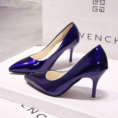 VIVIOO Grande Talons Cuir Noires Femme Chaussures Taille Nue Talons en Chaussures De Verni Couleur avec Hauts Bleu 7cm des blue Femme Pointue Chaussures Mariage Escarpins À Hauts T0qTprw6