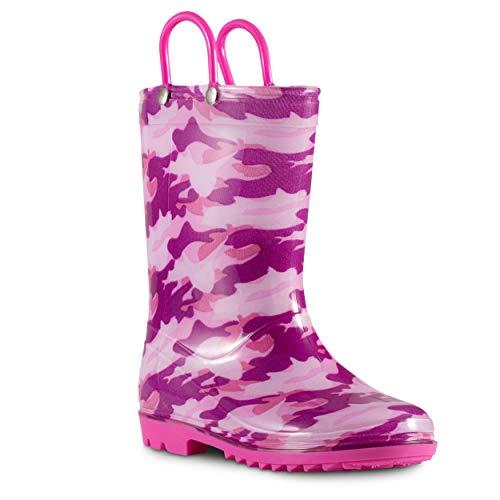 ZOOGS Children's Rain Boots with Handles, Little Kids & Toddlers, Boys & Girls, Fuschia (Camo), US 12Y (Fuschia Pink Boots)