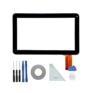 tonelon Recambio (Tablet 10.1Pulgadas Digitalizador de pantalla táctil de cristal para QLT 1007C-PW 50PINS + 3mm cinta adhesiva de doble cara adhesivo + Abrir Herramientas + paño limpio