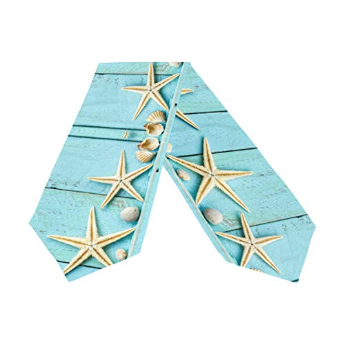 (Double-Sided Ocean Theme Seashell Starfish Blue Wooden Table Runner 13 x 70 Inches Long,Table Cloth Runner for Wedding Party Holiday Kitchen Dining Home Everyday Decor)