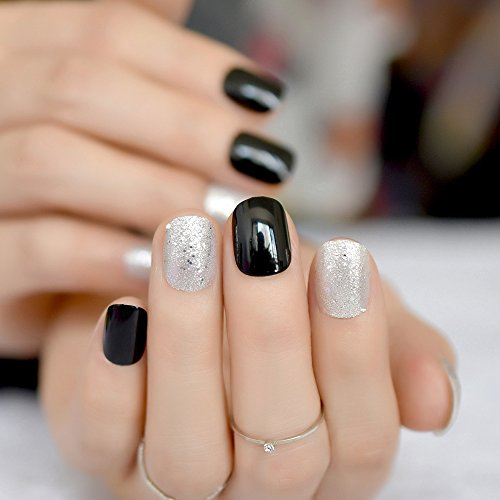 er False Nails Short Classic Black Press On Fake Nails Full Cover Acrylic Bling Wear Nail Art Accessories Z866 ()