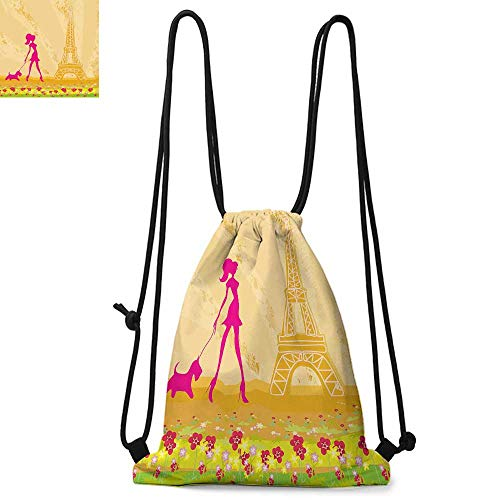 Teen Room Decor Made of polyester fabric Pink Silhouette of A Girl with the Dog Eiffel Tower in Paris Design Waterproof drawstring backpack W13.8 x L17.7 Inch Apricot Hot ()