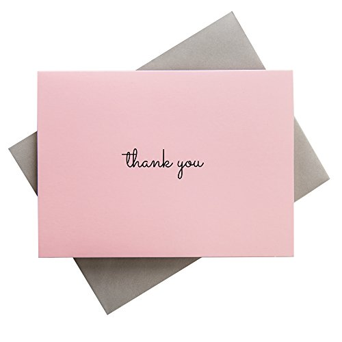 Thank You Cards | Pink - Set of 50 | 4 x 5.5 inches | Grey Envelopes | Elegant Design | Blank on the Inside | Perfect for Birthdays, Showers, Weddings, Business -