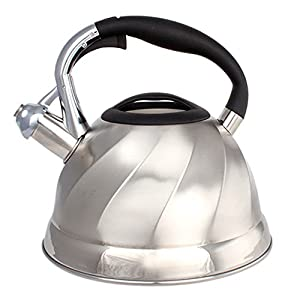 Stainless Steel Whistling Tea Kettle - Tea Maker Pot 3 Quarts 2.8 L Satin Finish