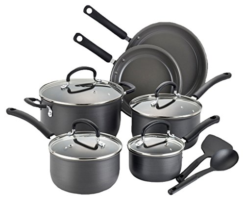 T-fal E789SC Precision Hard Anodized Nonstick Ceramic Coating PTFE PFOA and Cadmium Free Scratch Resistant Dishwasher Safe Oven Safe Cookware Set, 12-Piece, Black