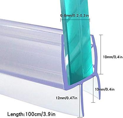 Tira de sellado para mampara de ducha de 6-8 mm de cristal curvado recto de 100 cm: Amazon.es: Bricolaje y herramientas