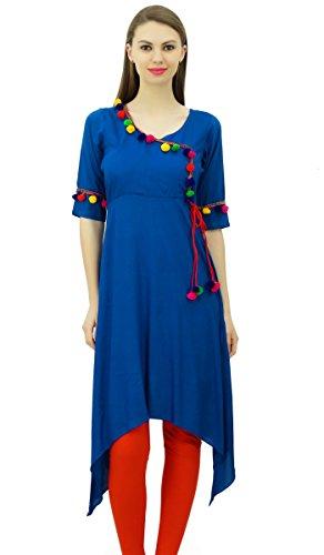 Phagun Angrakha Estilo Rayón para mujer de la túnica kurta Pompón Diseñador Kurti sobre el tema de la India Azul