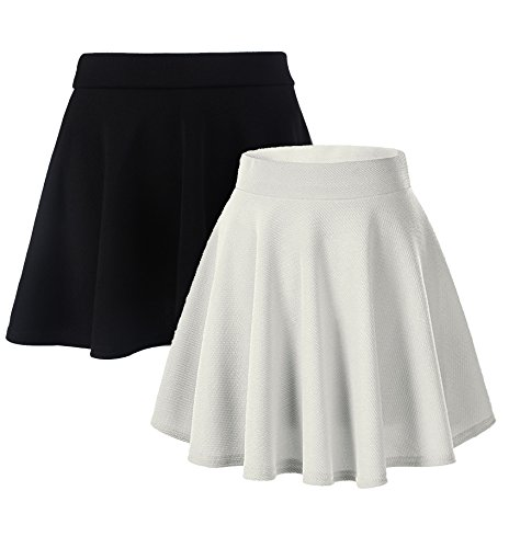 Moxeay Women's Basic A Line Pleated Circle Stretchy Flared Skater Skirt (X-Large, Black&White)