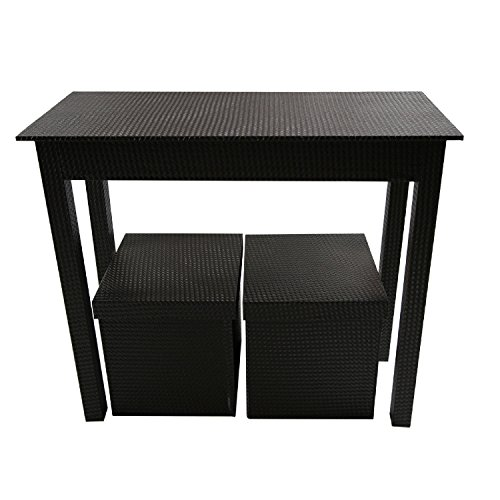 Instant Mosaic 50106 Dark Brown Leatherette Console and 2 Matching Storage Ottomans (Set of 3) by Instant Mosaic