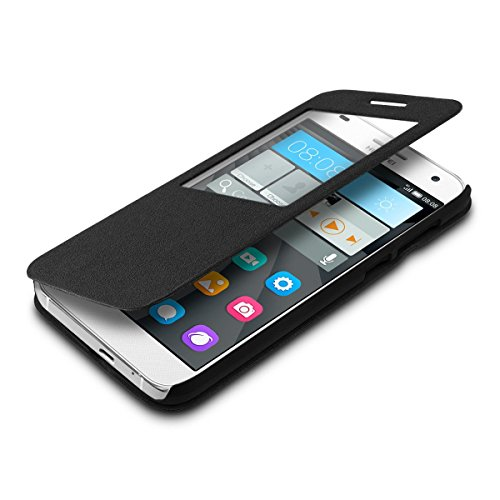 kwmobile Practical and chic FLIP COVER case for Huawei Ascend G7 in black