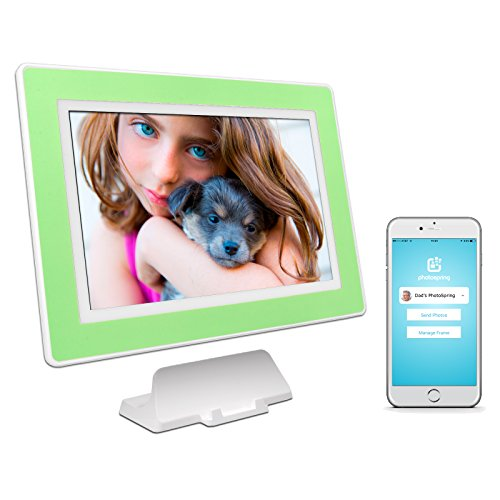 PhotoSpring (32GB) 10-Inch IPS, WiFi, Touchscreen, Battery, iPhone & Android App, Photo & Video, Digital Picture Frame (White with Sea Foam Green Mat) 32,000 photo capacity Review