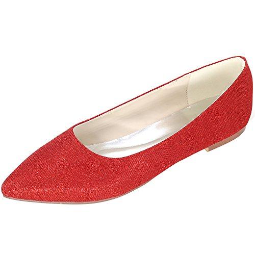 Loslandifen Womens Elegant Pionted Teen Wedding Ballet Flats Dress Shoes Rood / 2046-07c