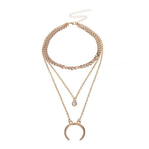 Wintefei Fashion Rhinestone Multi-layer Chain Necklace Women Jewelry Pendant Gift Party - Golden Crescent Fine China
