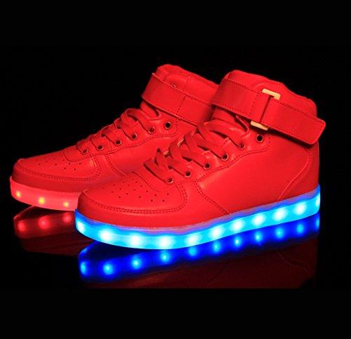LED Se a con Avete Adulto Luci Scarpe Sportive Non contattarci Scarpe Sneakers Unisex Domande Rosso esitate Accendono DoGeek Luminosi Le A7qttx