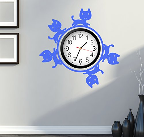 Cat Kitty Pets Cute For Bedroom Wall Decal Around Clock Sky Blue (z2689)