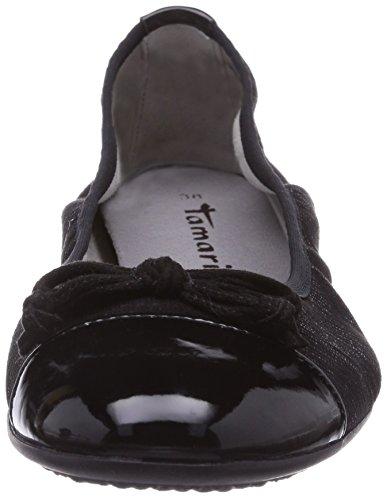 Tamaris 22119 - Bailarinas de lona para mujer negro - Schwarz (Black/Black 033)