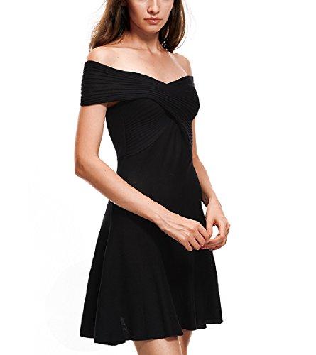 Cocktail Robe D'été Des Femmes Sygoodbuy Robe Dames Manches Courtes Robes Robes Swing Épaule Robe De Plage Noire
