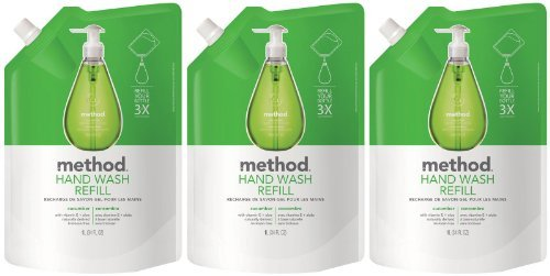 Method Gel Hand Wash Refill Pouch, Cucumber, 34oz, 3pk