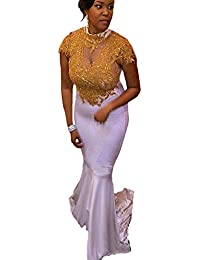 Womens Sexy Gold Lace Beaded Mermaid Prom Dresses 2017 Long High Neck Appliques Evening Dress Party