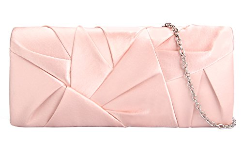 (Grace Angel Women's Satin Pleated Evening Clutch Bag Wedding Bridal Prom Purse Handbag GAS6631 Pink)