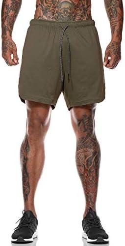 Lecoon Shorts Deportivos Hombre Pantalones Cortos para Correr 2 en 1 con Forro de Bolsillo Incorporado Secado Rápido Transpirable para Running Gym Entrenamiento 4