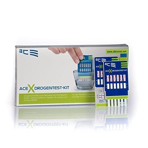 ACE Drogentester 4 in 1 - 2 x Schnelltest für Privatpersonen zur Bestimmung von 6 versch. Drogenarten...