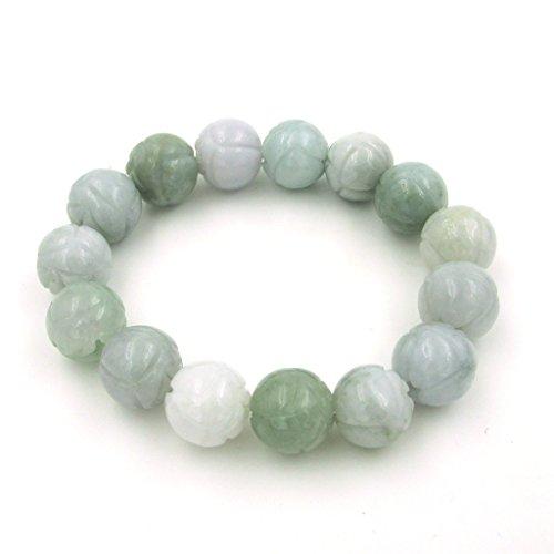 Jadeite Jade Carved Flower Beads Elastic Stretchy Bracelet