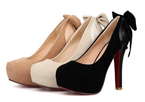 YE Damen High Heels Plateau Pumps mit Schleife Hinten Runde Zehe Geschlossen 12cm Absatz Elegant Party Schuhe Schwarz