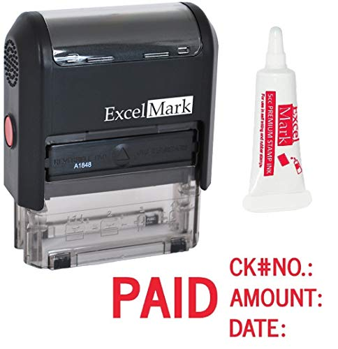 ExcelMark Paid Self Inking Rubber Stamp - Red Ink with 5cc Refill Ink (A1848) by ExcelMark