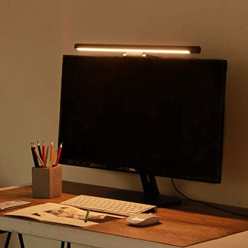 Computer Monitor Light for Save Desk Space Eye-Caring Screen Light Bar No-Glare E-Reading LED Task LampUSB Charging Port 3 Lighting ModesStepless Dimming Wireless Rotation Control