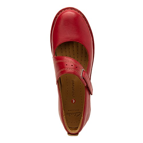 CLARKS Mujeres ONU. briarcrest Flats zapatos rojo (Red Leather)