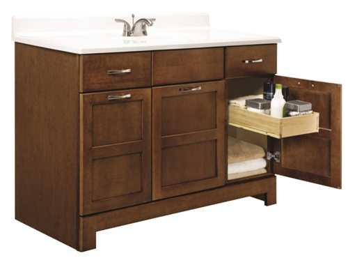 Rsi Home Products Bathroom Vanities   Cabinets 270143  Chandler Bathroom Vanity Cabinet  Fully Assembled  Cognac  48X21x33 1 2