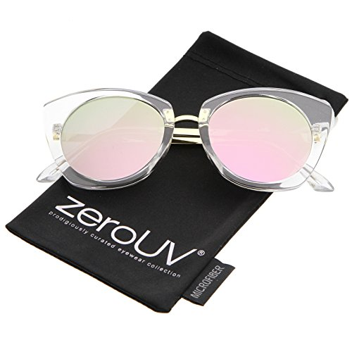 zeroUV - Women's Crystal Frame Colored Mirror Flat Lens Round Cat Eye Sunglasses 52mm (Clear-Gold/Pink-Green (Crystal Black Lens)