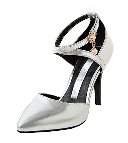 Aisun Womens Sexy Ankle Wrap Buckle Pointed Toe Dress High Stiletto Heels Sandals Shoes Silver glQO9fHYLp