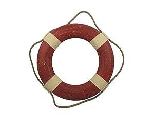 Hampton Nautical  Vintage Red Decorative Life Ring, 20